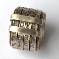 Letter Love Spinning Ring Ring Sterling Silver Band by ExCognito
