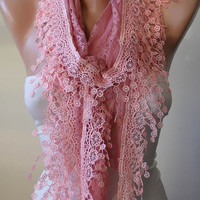 Pink Lace Scarf with Light Pink Lace Trim Edge
