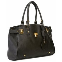 LUCCA Glamour Padlock Designer Inspired Shopper Hobo Tote Bag Purse Satchel Handbag w/Shoulder Strap