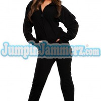 Back in Black  - Hooded Footed Pajamas - Pajamas Footie PJs Onesuits One Piece Adult Pajamas - JumpinJammerz.com