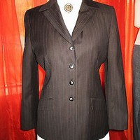 LE SUIT JACKET BROWN PINSTRIPES LINED W POCKETS CLASSY ! SIZE 12P!