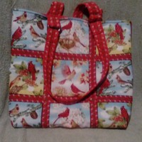 Cardinal Quilted Tote Bag Large Bag
