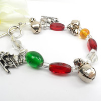 Christmas Bracelet, Jingle Bells, Red and Green, Holiday Party