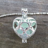 Aqua Sea Glass  Heart  Necklace Locket Frosted Pale Rare Genuine