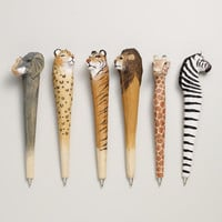 Wood Carved Animal Pens, Assorted 6-pk | World Market