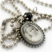 "Vintage photo of school girl pendant on 18"" ball chain"