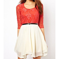 Stitching lace chiffon dress BADBG