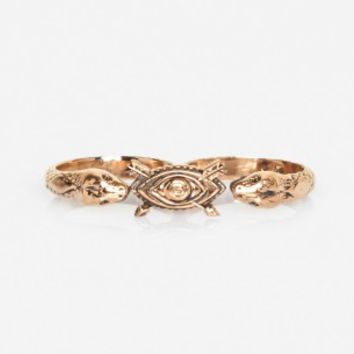 Pamela Love Duel Double Finger Ring In Bronze