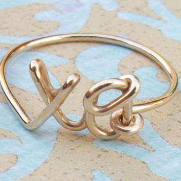 xo Hug and Kiss Ring - Sterling Silver or Yellow Gold Filled