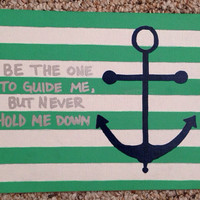 Striped Anchor Painted Quote
