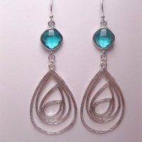 Turquoise Glass Teardrop Maze Dangle Earrings With Sterling Silver