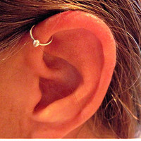 "Sterling Silver Helix Cartilage Ear Cuff  ""Captive Ball"" Handmade No Piercing"