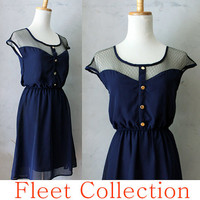 PETIT DEJEUNER in Navy Blue  Black Lace by FleetCollection on Etsy