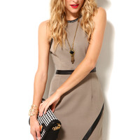 Asymmetric Knit Dress in Beige