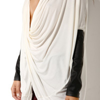 Rehab Pleather Sleeve Twist Hem Top