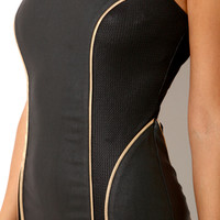 Metallic Contour Pleather Dress