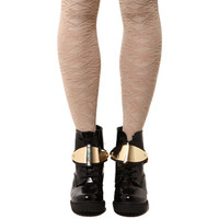 Snowflake Knee High Socks in Beige