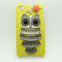 yellow case pink flower Antique Brass Cute Owl by sevenvsxiao