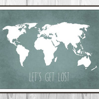 Travel Quote World Map Art Print Poster - Let's Get Lost - Travel Decor - Blue Grunge Textured Linen Cloth Background