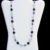Sparkling Opera Length Necklace/ Art Deco/ Formal Jewelry/ Aqua Blue Purple Lilac Silver Black/ Semiprecious Stones