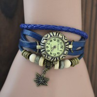 MagicPiece Handmade Vintage Style Leather Watch For Women Star Flower Pendant and Wooden Beads in 5 Colors: Blue