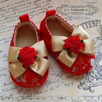 MON COEUR-red Brocade Baby Shoes | Luulla