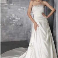 Ruffles Beading Strapless Chapel Train Ivory Satin Wedding Dress