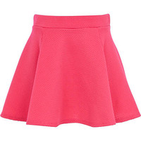 Girls pink textured skater skirt - skirts - girls