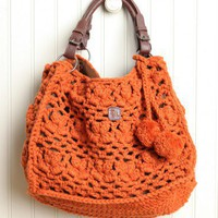 fresh persimmon crochet shoulder purse by ZL