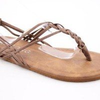 Billabong Woven Through Time Womens SZ 8 Brown New Open Toe Shoes