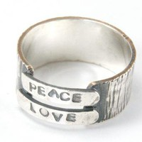 Peace and Love Ring Sterling Silver Band Ring