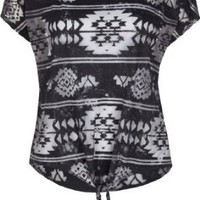 FULL TILT Ethnic Tie Front Womens Top
