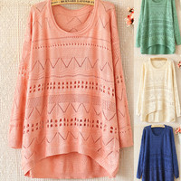 A 081903 Loose round neck long-sleeved sweater hollow