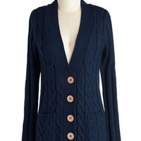 ModCloth Scholastic Mid-length Long Sleeve Your Fireside of the Story Cardigan in Navy