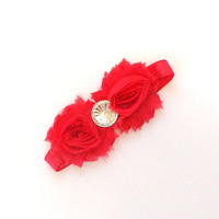 Red Headband, shabby flowers with rhinestone center on a stretch headband, babies, girl's, women's,