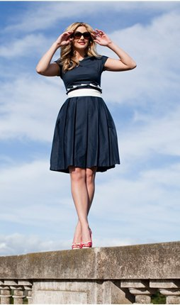 Navy Pleated Dress with White Piping
