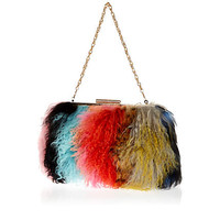 Multicoloured Mongolian fur clutch bag