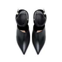 LEATHER SLING BACK WITH ANKLE STRAP - Shoes - Woman | ZARA United States