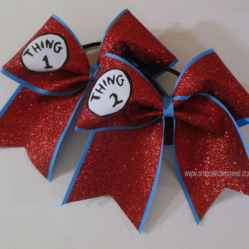 Thingy 1 and Thingy 2 GLITTER Cheer Bow Hair by SparkleBowsCheer