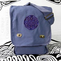 Celtic Knot Vertical Messenger Purple Embroidery on Blue Cotton Canvas