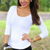 The Softest 3/4 Sleeve Top: White | Hope's