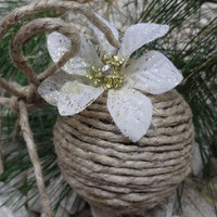 Jute Twine Ornament, Handmade Ornament, Country Chic, Farmhouse Decor, Shatterproof