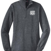 Monogrammed Charcoal Heather Pullover Sweatshirt