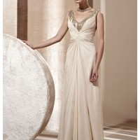 Cream Silver and Gold V-neck Mother of the Bride Dress