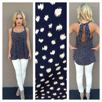 Navy Dot Ruffle Back Sleeveless Blouse
