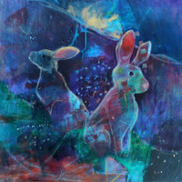 "Original Acrylic Painting Animal Abstract ""Rabbit Stops to Listen"""