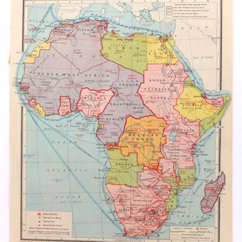 1948 africa map vintage human map of africa egypt sudan and east