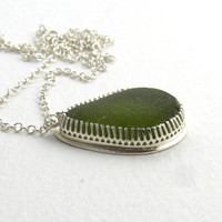 Sea Glass Necklace Pendant Deep Forest Green AILEANA