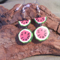 Polymer clay watermelon earrings