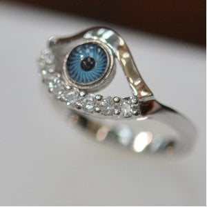 Silver & Cz Evil Eye Ring